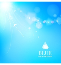 Bright blue background with a leaves glowing vector image vector image