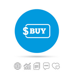 Buy sign icon online buying dollar button vector