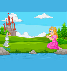 Cartoon princess kissing a green frog vector