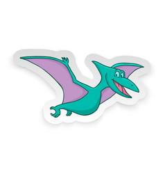 Cartoon pterodon cute little badinosaur sticker vector