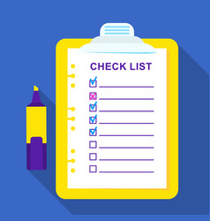 checklist on a sheet of paper vector image