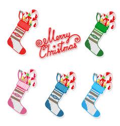 Christmas sock with sweets set vector