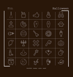 collection of 30 halloween icons in thin line vector image