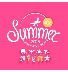 Colorful lettering summer and icons vector