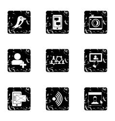 Communication icons set grunge style vector