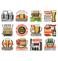 craft beer mugs bottles glasses tap and barrel vector image