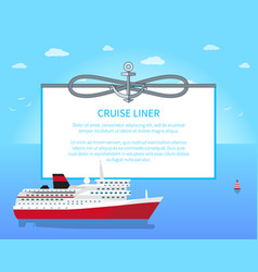 Cruise liner colorful poster vector