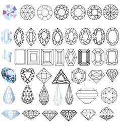 Cut Gem Stones vector image