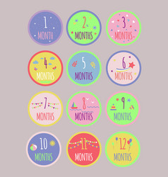 Cute monthly growth baby stickers vector