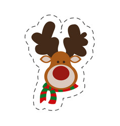 cute portrait reindeer christmas cut line vector image