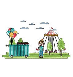 Doodle carnival shop car with clown boy and game vector