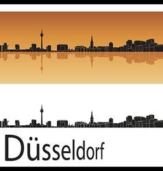 Dusseldorf skyline in orange background vector image