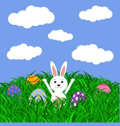 Easter bunny and eggs with stickers on the grass vector