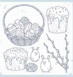 Easter cake painted eggs in a basket and willow vector