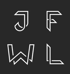 Elegant letters set w j f l logos creative vector