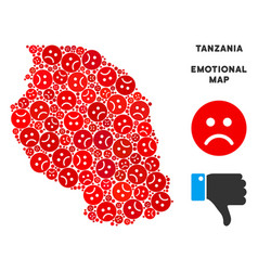 Emotion tanzania map mosaic of sad smileys vector