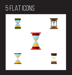 flat icon timer set of hourglass clock minute vector image