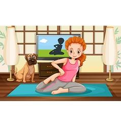 Girl and yoga vector