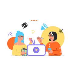 girlfriends watching online movie on phone screen vector image