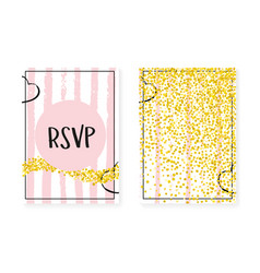 Gold glitter cards with dots and sequins wedding vector