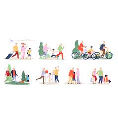 grandparents and grandchildren old people vector image