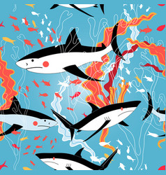 graphic pattern swimming sharks vector image