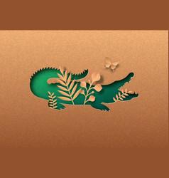 Green paper cut crocodile animal nature leaf vector