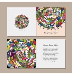 Greeting card design floral mandala vector