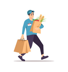 Grocery store delivery flat vector