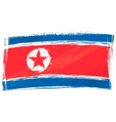 Grunge North Korea flag vector