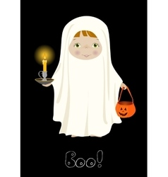 Halloween boo card with cute ghost vector