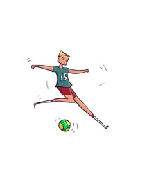 hand drawn cartoon running soccer player with ball vector image vector image