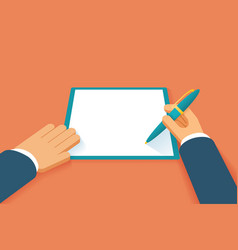 Hands sign contract vector image