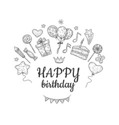 happy birthday sketch background birthday vector image