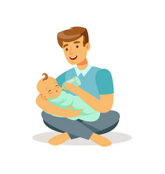 Happy father sitting on the floor with his baby vector