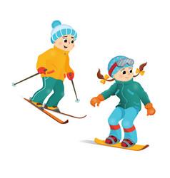 happy funny boy skiing downhill winter sport vector image