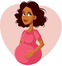 happy pregnant african american woman cartoon vector image