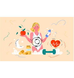Healthy female diet and metabolism concept vector