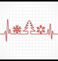 Heartbeat make Christmas symbols vector image