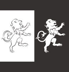 Heraldic lion line and silhouette lions vector