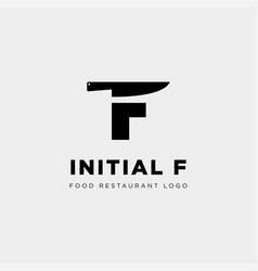 Initial f food equipment simple logo template vector