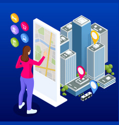 isometric town map with gps navigation mobile vector image