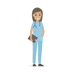 Joyful physician with stethoscope and black tablet vector