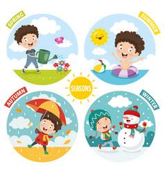 Kid and four seasons vector