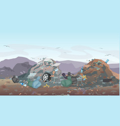 Landfill landscape with vector