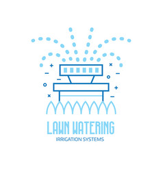 Lawn watering logo with garden sprinkler vector