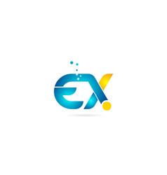 Letter combination ex e x orange blue alphabet vector