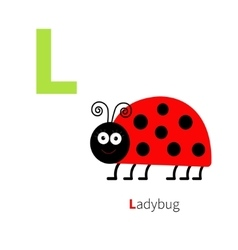 Letter L Ladybug Zoo alphabet English abc with vector