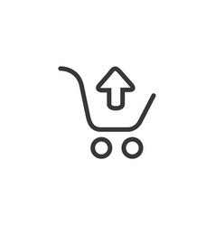 linear black shopping cart with black up arrow vector image