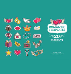 Love and wedding patch vector